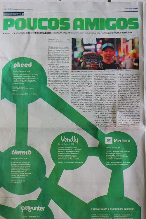 Entrevista para o Estadão sobre rede social Pheed. Março de 2013.