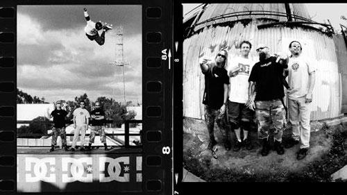 Jeff Hanneman, Kerry King e Tom Araya com Danny Way na DC Super Ramp (foto: Mike Blablac)