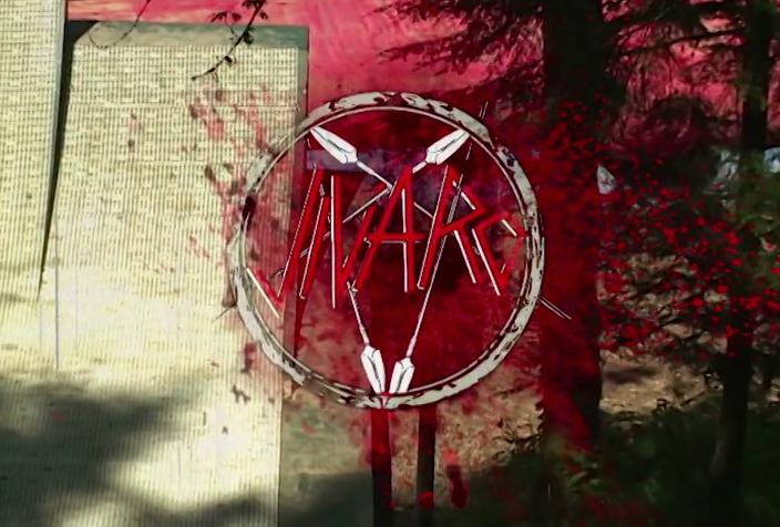 "Logo do vídeo ""Jivaro — Sin Duda Vol 1."", inspirado no Slayer"