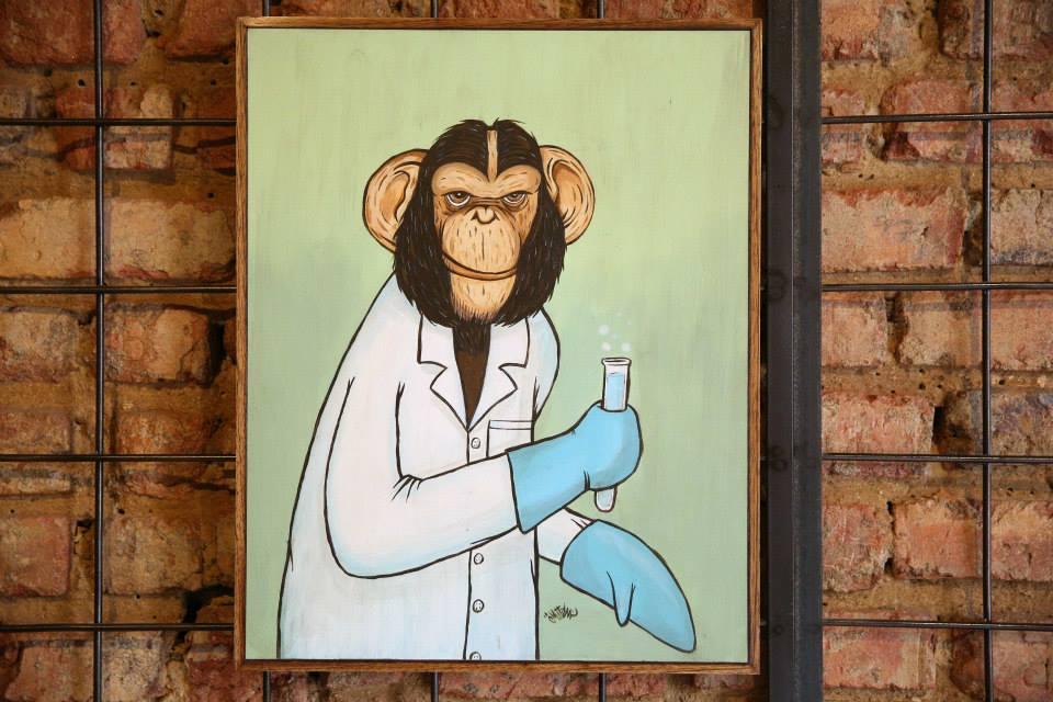 """""""Um Macaco Cientista"""" Acrílica sobre madeira MDF 40 x 50cm (Divulgação/Henrique Madeira)"""