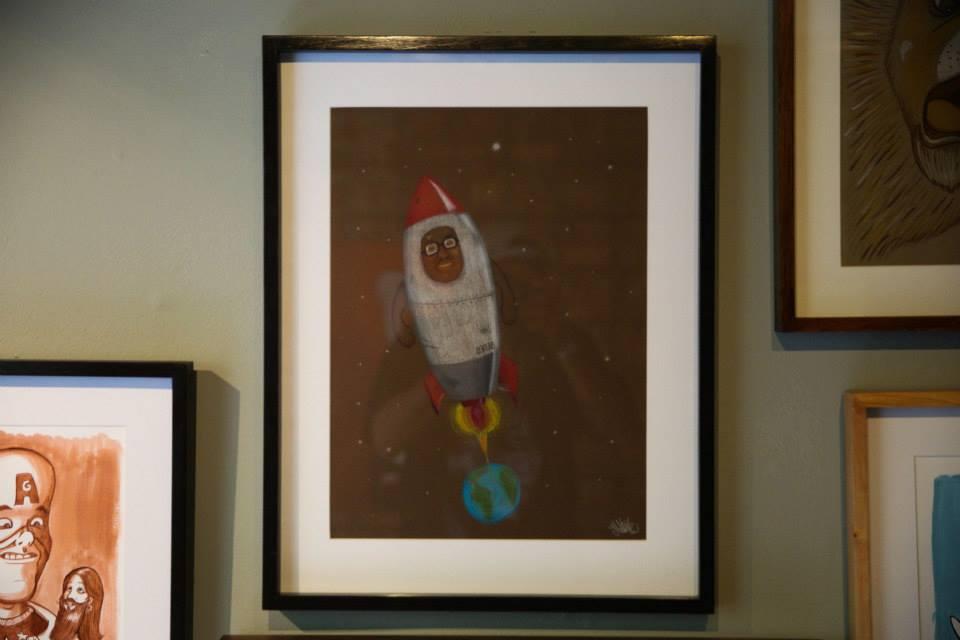 """""""O Homem Foguete"""" Lápis de cor sobre papel Canson Mi Teintes 160 g/m2 34 x 56,5 cm (Divulgação/Henrique Madeira)"""