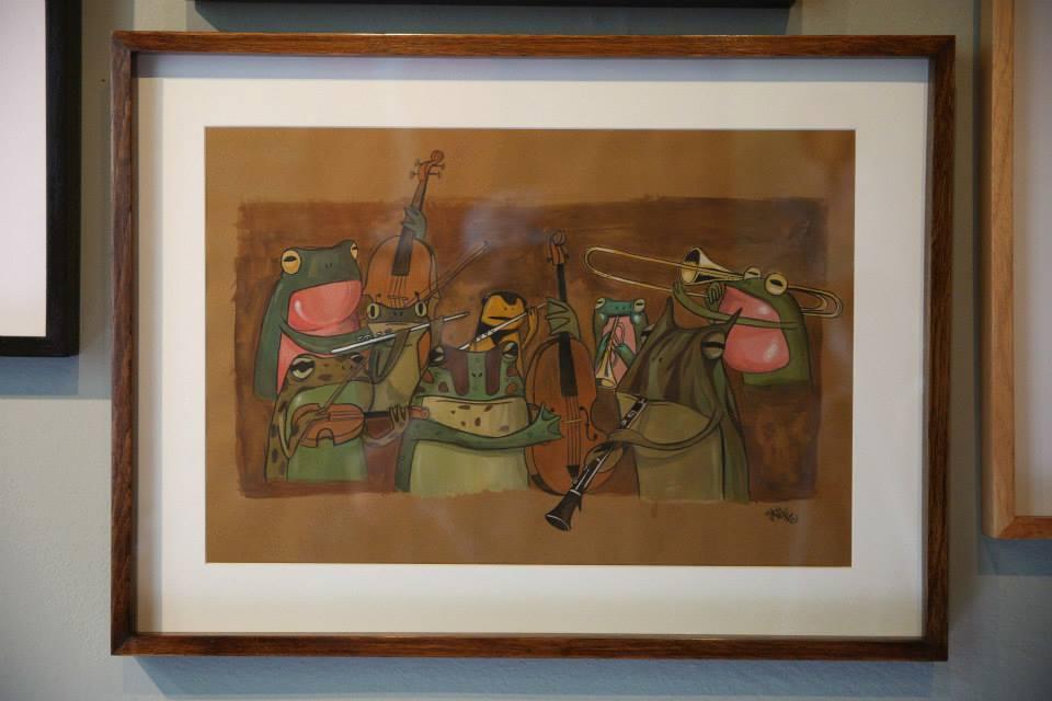 """""""Uma Orquestra de Sapo"""" Aquarela sobre papel Canson Mi Teintes 160 g/m2 59,5 x 44,5 cm (Divulgação/Henrique Madeira)"""