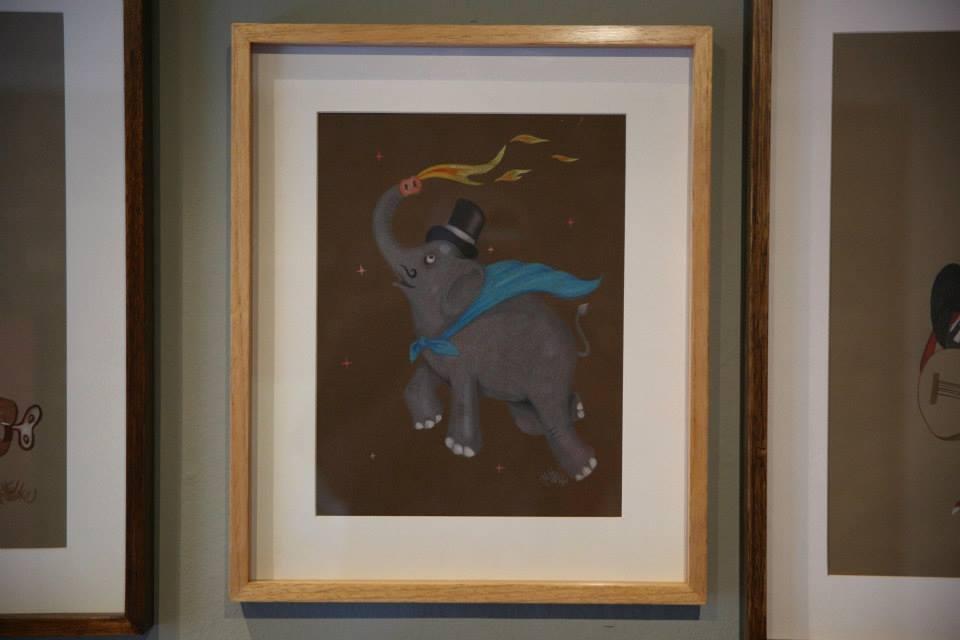 """""""O Mágico que engole espada, come fogo, vira elefante e sai voando"""" Lápis de cor sobre papel Canson Mi Teintes 160 g/m2 37 x 44,5 cm (Divulgação/Henrique Madeira)"""