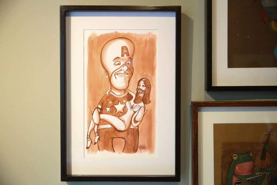 """""""Um Anão Gigante e a Mulher Barbada"""" Nanquim e aguada sobre papel Fabriano 240g/m2 34,5 x 50,5 cm (Divulgação/Henrique Madeira)"""