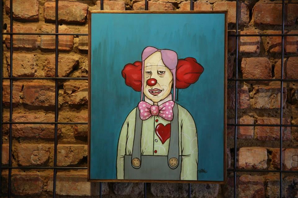 """""""Tereré, o palhaço que é ladrão de mulher"""" Acrílica sobre madeira MDF 40 x 50cm (Divulgação/Henrique Madeira)"""
