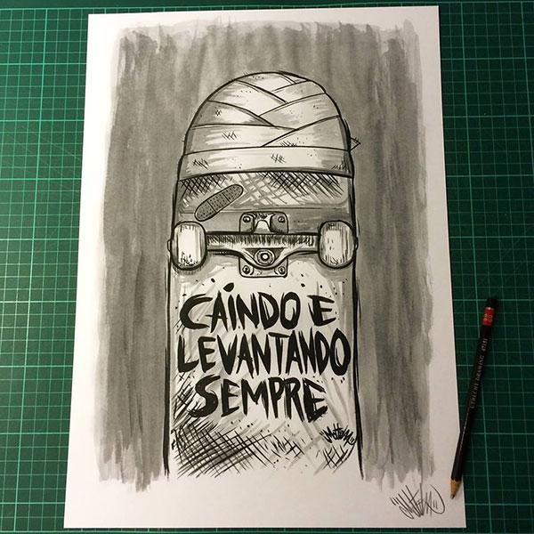 """""""Caindo e Levantando Sempre""""- gravura de Mottilaa para Skate In Rio (Divulgação)"""