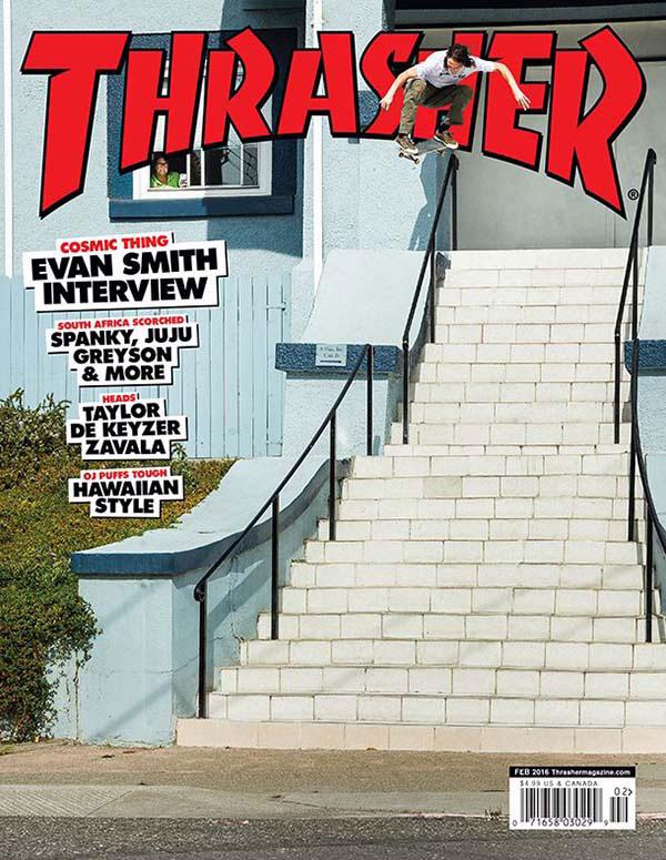 Capa da Thrasher Magazine de fevereiro de 2016. (Reprodução)